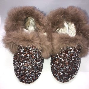Other - Fur and rhinestone slippers